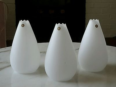 3 Vintage Sweden 1960's Mid Century Modern Glass White Tension Pole Lamp Shades