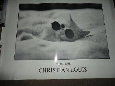 VINTAGE 1980s CHRISTIAN LOUIS  CAT POSTER 1968