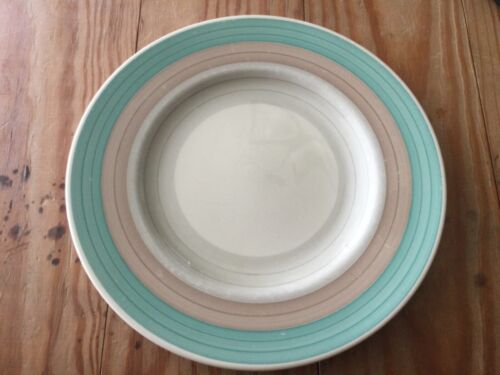 "SUSIE COOPER Wedding Rings Tan & Green 10"" Diameter Dinner PLATE ENGLAND"
