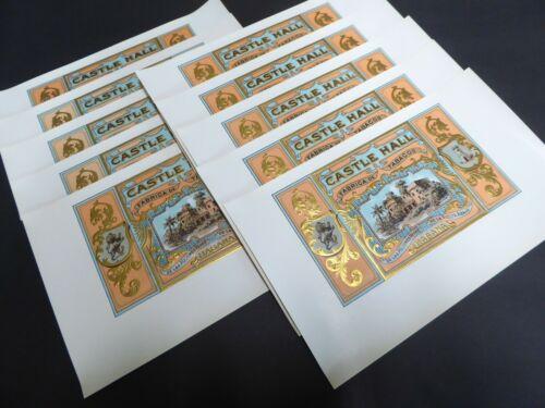 X10 ORIGINAL CIGAR BOX LABELS VINTAGE 1920 EMBOSSED CASTLE HALL INNER ANTIQUE