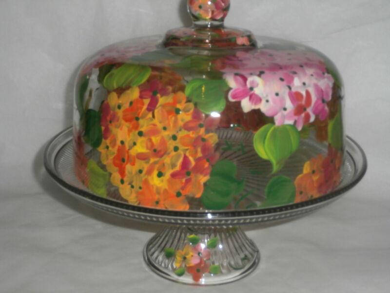 HAND PAINTED HAWAIIAN PLUMERIA CAKE PLATE/PUNCH BOWLoriginal, pink yellow green