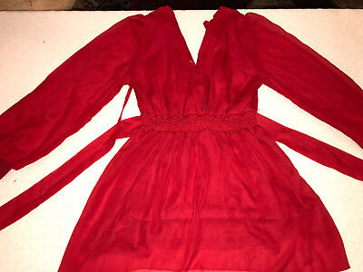 SEXY HALLOWEEN COSPLAY WOMENS VERY REVEALING ACESNUG LOW CUT RED DRESS SMALL