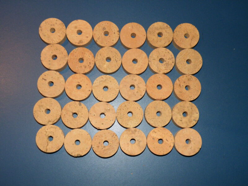 "30 CORK RINGS 1 1/4""X1/2""  BORE 1/4""  FLOR BLACK STAINS"