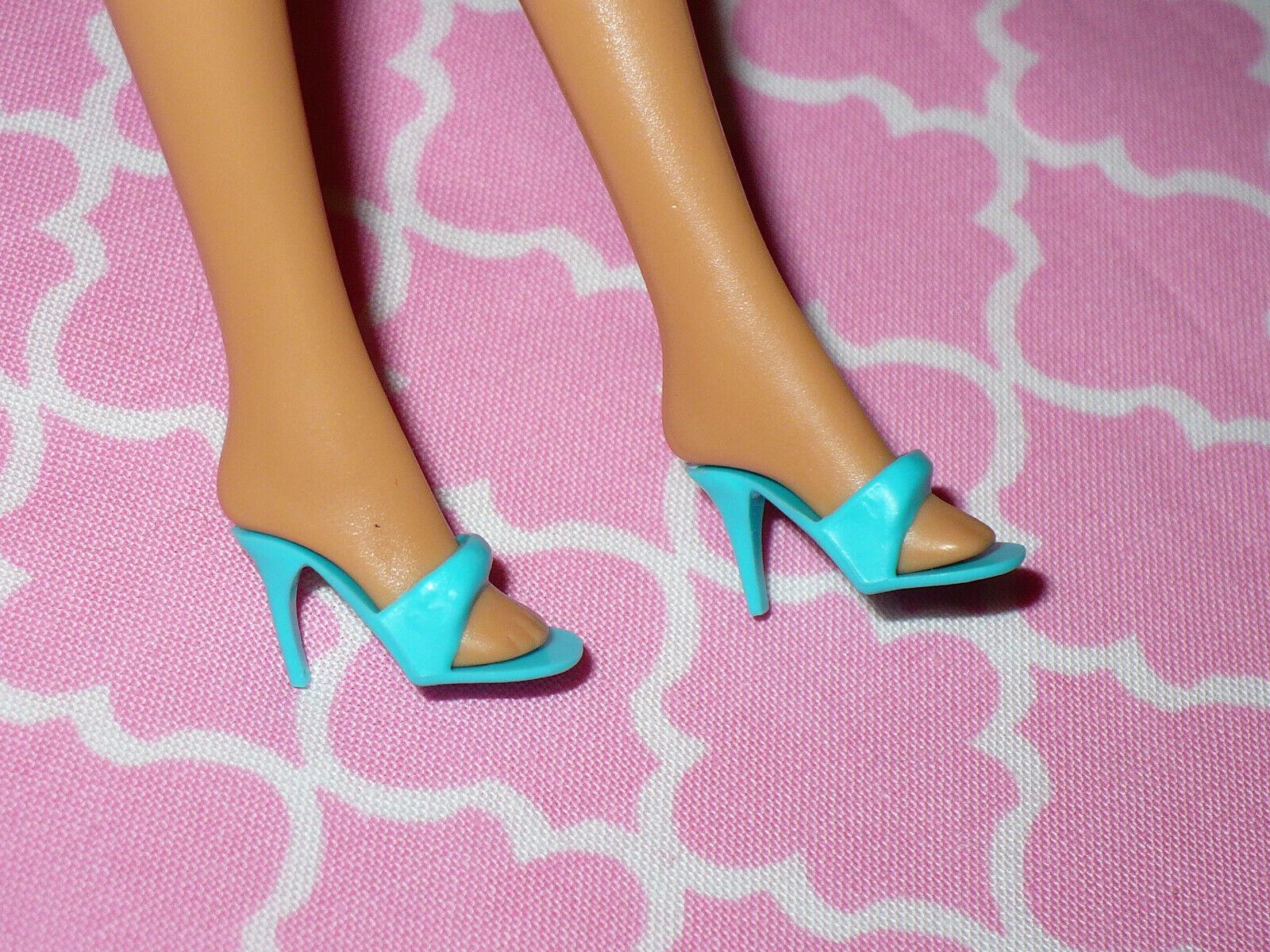 Mattel Barbie Doll Shoes Vintage TURQUOISE BLUE MULES SLIDES High Heel SANDALS - $15.99