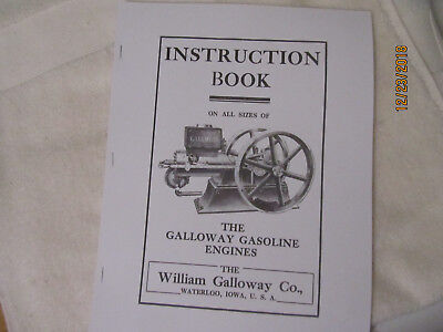 1910s William Galloway Gas Engine Instruction Parts Manual