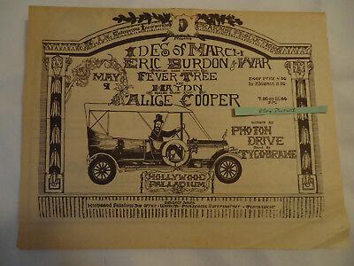 Ides of March / Eric Burdon & War / Alice Cooper concert 1970 newsprint ad