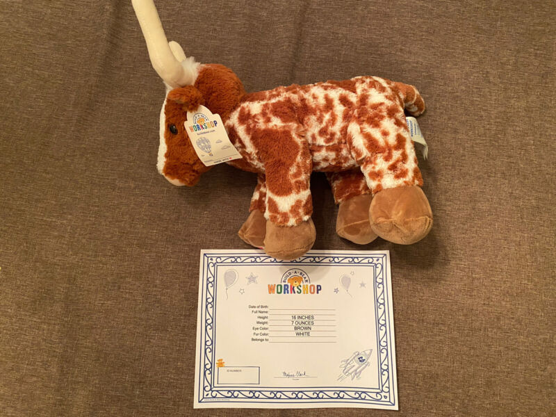Build-A-Bear Texas LONGHORN Cow Plush, RARE!!  Sold Out! Brand New With Tags!!!!