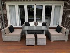WICKER OUTDOOR LOUNGE DINER FURNITURE SETTING,EUROPEAN STYLED