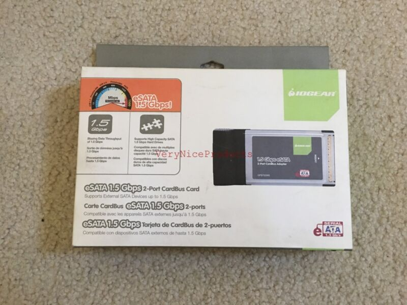 NEW IOGEAR 2-Port CardBus eSATA 1.5Gbps Host Adapter GPS702