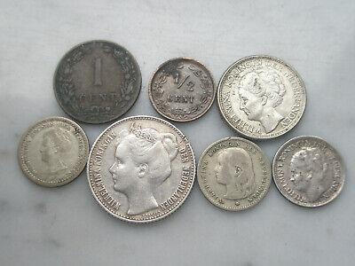 Lot 1/2 1 10 25 cent gulden argent silver Netherlands 1885 1897 1904 1905 1944
