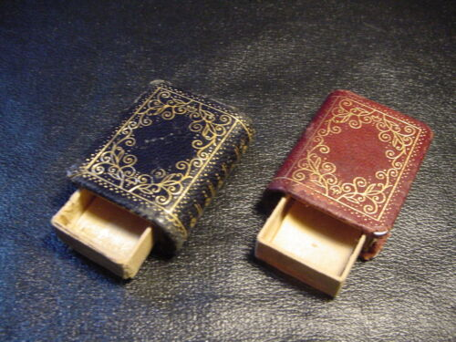 Lot of 2 Antique Miniature Books Match Safes USA Seller 99 Cent Shipping