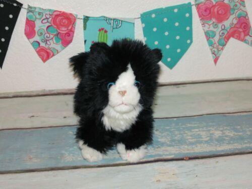 "Toys R Us Tuxedo Black White Kitty Long Fur Cat Kitten Plush Stuffed Toy 9"""