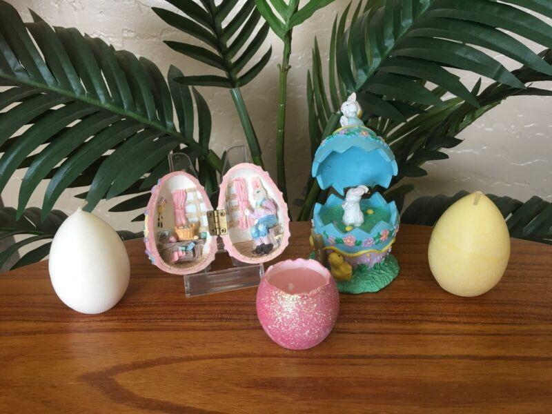 Vintage Easter Bunny Egg Hinged Diorama Easter Egg Diorama Trinket Box