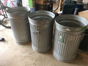 3 heavy duty metal garbage cans