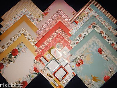 12X12 Scrapbook Paper Cardstock DCWV Coral Couture Stack Floral Garden 24 - Floral Scrapbook Paper