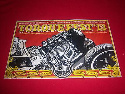 2013 retro TORQUEFEST poster-DUBUQUE IOWA-kustom cars HOT RODS cycles DRAG RACE