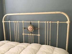 ANTIQUE CAST IRON DOUBLE BED AND BASE Waverton North Sydney Area Preview