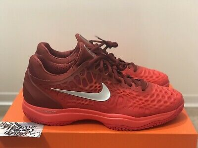 best sneakers 44062 5a9b2 New Nike Air Zoom Cage 3 HC Tennis Shoes 918193-003 Hard Court Red Mens 11.5