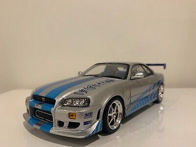 1:18 Fast & Furious Brian's 1999 Nissan Skyline GT-R (R34) Greenlight Model Car