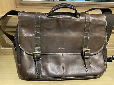 Samsonite 457981139 Leather Flapover Case Double Gusset Messenger Bag Buckle SDS
