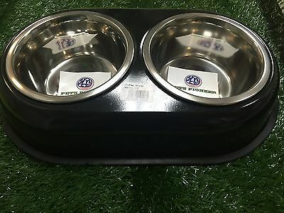 Double Stainless Steel bowls 1 QT 32 oz 4 cups BLACK pet dog dishes bowlsplates