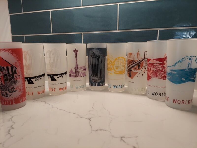 Set of 9 Worlds Fair Seattle 1962 Drink Glasses Tumblers Mid Century Frosted