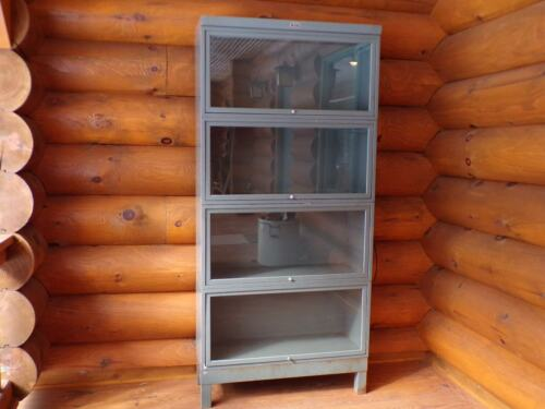 Industrial Metal Barrister Bookcase Mid-Century Modern Era Decor Medical Cabinet