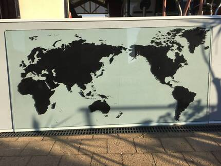 World map on wooden backing collectables gumtree australia glass world map gumiabroncs Choice Image