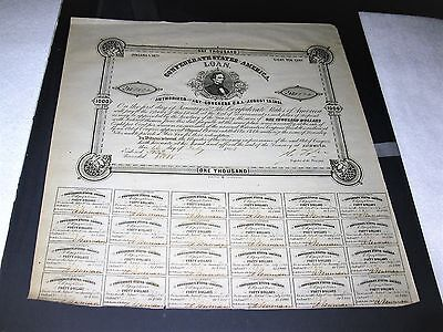 CONFEDERATE STATES AMERICAN $1000 BOND WITH 24 COUPONS DATED AUGUST 19,1861, COA