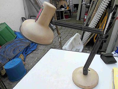 Tisch Lampe Werkstattlampe Porzellanfassung mit Gelenken verstellbar Metall Kuns