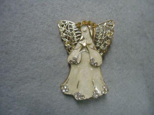 Vintage Clear Rhinestone Shimmer Enamel Christmas Holiday Angel Faith Brooch Pin