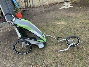 Chariot single jogging stroller with bike attachment