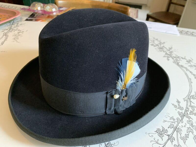 Knox Royal Blue Homburg Hat 7 1/4