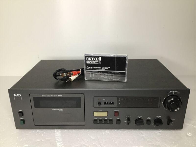 NAD 6340 Stereo Cassette Deck W/ Audio Cables & Cassette