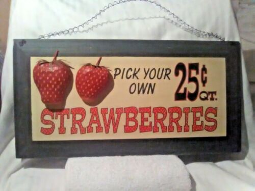 "VINTAGE STRAWBERRY ""EMBOSSED"" SIGN"