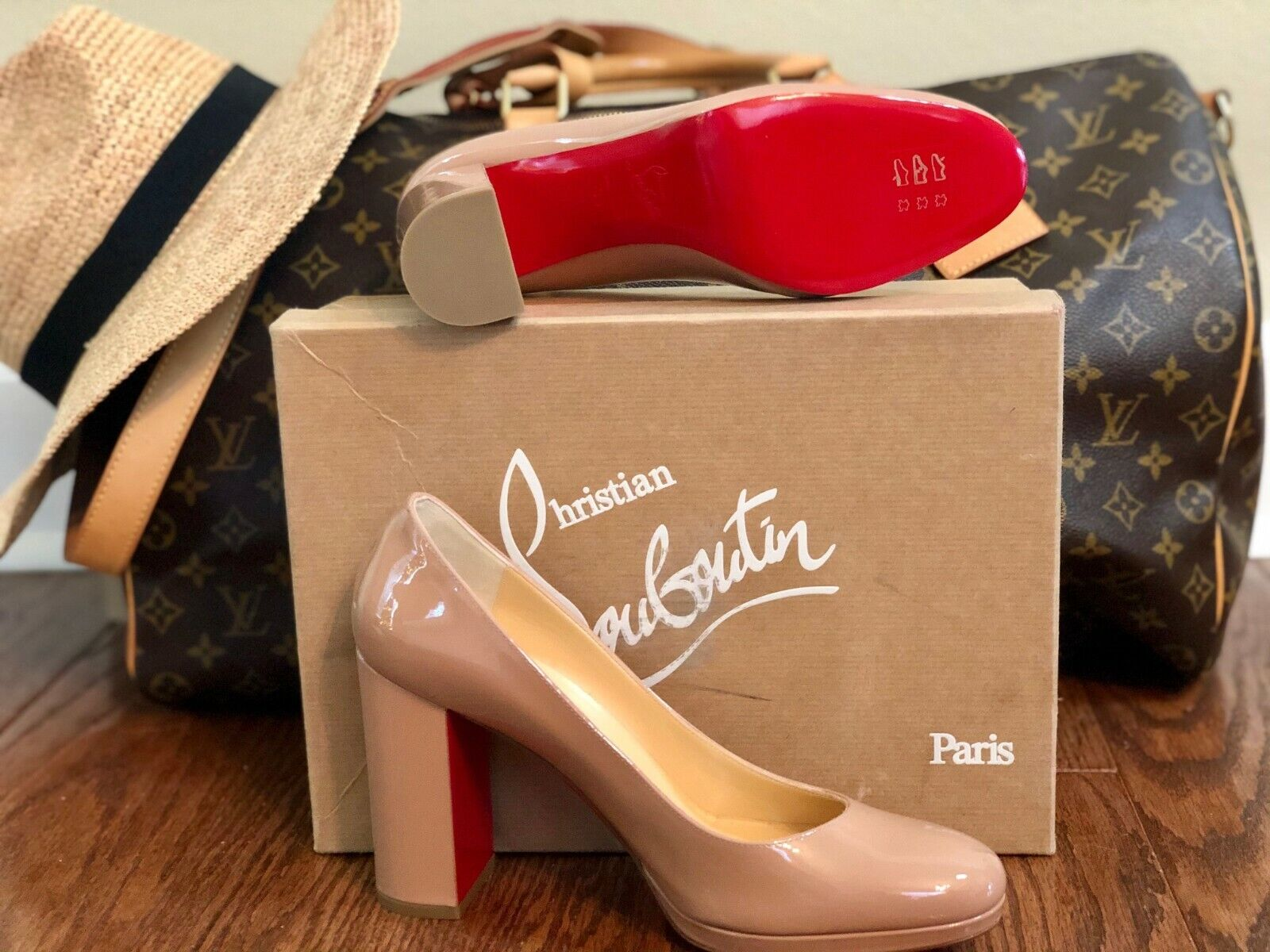 Christian Louboutin KABETTS 100 Patent Leather Block Heel Pumps Shoes Nude