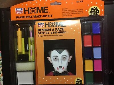 DESIGN-A-FACE GUIDE & MAKEUP KIT COSTUME FACE PAINT HALLOWEEN MARDI GRAS - Face Paint Designs Halloween