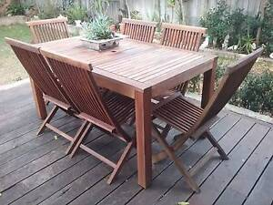 """Beaut 7 piece teak setting with folding chairs Wembley Cambridge Area Preview"