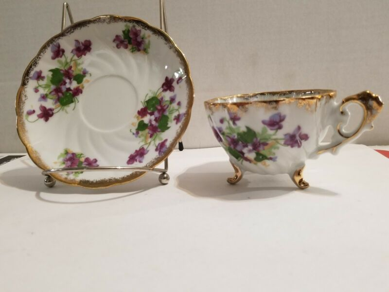 Napco Tea Cup and Saucer- Bone China Violets Footed 1DD239