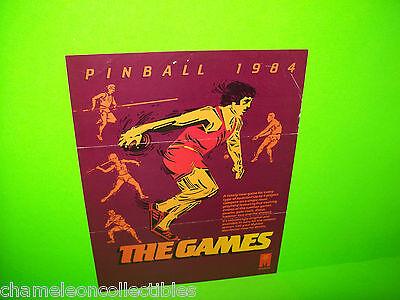 THE GAMES By GOTTLIEB MYLSTAR 1984 ORIGINAL PINBALL MACHINE PROMO SALES FLYER