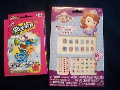 Sofia The First Decorative Nail Art + Shopkins Super Shopper Card Game Child Kid