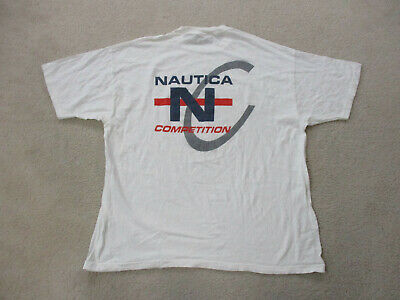 VINTAGE Nautica Shirt Adult 3XL XXXL White Red Competition Spell Out Mens 90s*