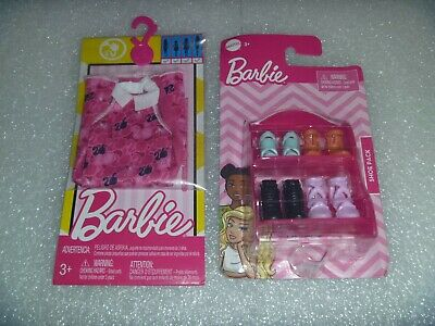 New Mattel Barbie Dress and New Pack of Mattel Shoes With Rack NIP