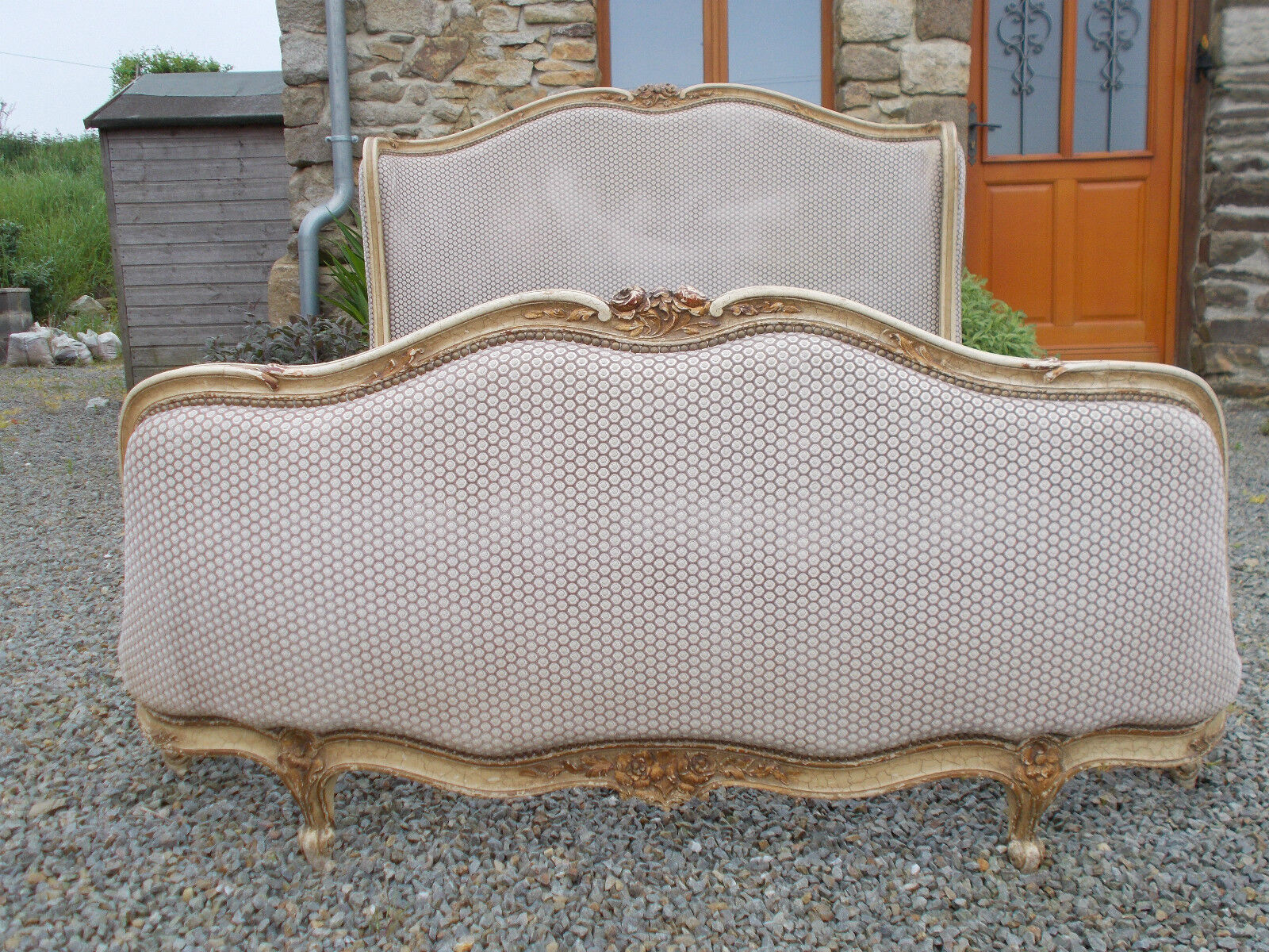 ANTIQUE FRENCH DOUBLE BED FULL CORBEILLE  *-* XMAS DELIVERY *-* RARE BUTTERFLY