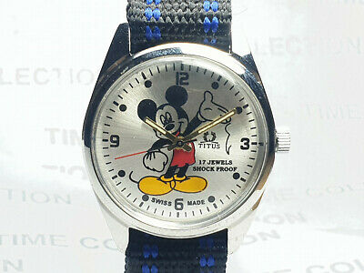 Vintage Titus Mens Mickey mouse Mechanical Handwinding Wrist Watch VG362 Z
