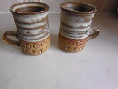 St Keyne pottery x 2 mugs. ?Tremar  related. Cornwall