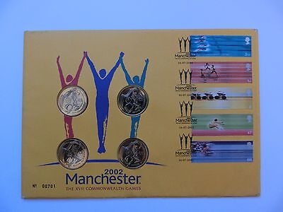 GB Manchester Commonwealth Games 2002 5 Stamps Set + 4 x £2 UNC in FDC RARE