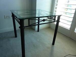 DECORATIVE SQUARE GLASS TOPPED METAL BASED SIDE TABLE Albert Park Port Phillip Preview
