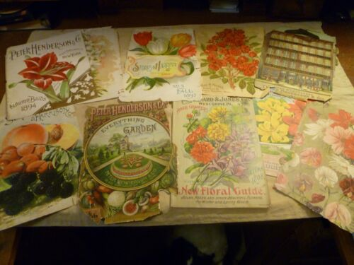Antique Lot of 10 Seed Catalog Covers/Pages. 1886-1905