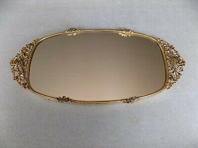 "Vintage MATSON Vanity Dresser Mirror Tray 17"" Gold Ormolu Roses  --  NICE ONE"